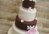 Brown and Pink wedding cake with sugar flowers  £425