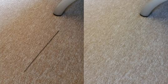 Left, the foot of a chair has pulled a line out of the carpet; right, there us no sign of damage!