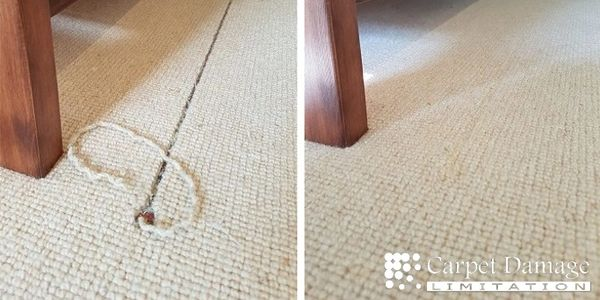 Left, a pulled thread leaving a large gap in a beige loop pile carpet; right, the carpet restored