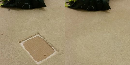 Left, a large square has been cut out of the carpet by a repairman; right, the hole isn't visible!