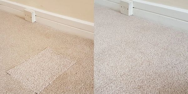 Left: a mismatching square inserted into a carpet; right: the same area of carpet looks whole