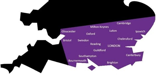 Map showing the main towns and cities we cover