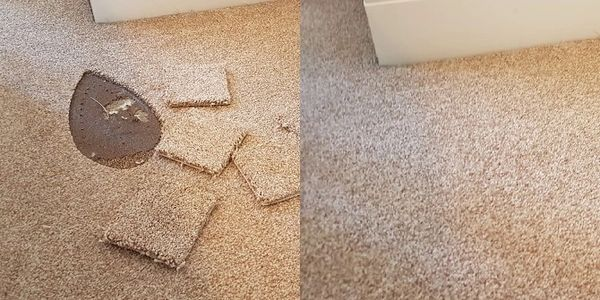 Left: small squares of spare carpet beside a deep iron burn; right: the same carpet is flawless