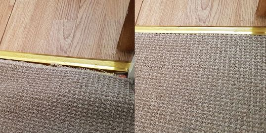 Left, a buckled carpet has come away from the door bar; right, the carpet fits perfectly