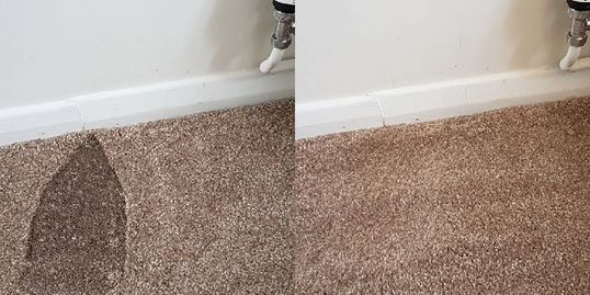 Left, a deep, dark iron burn in a brown carpet; right, the same area of carpet with no burn at all!