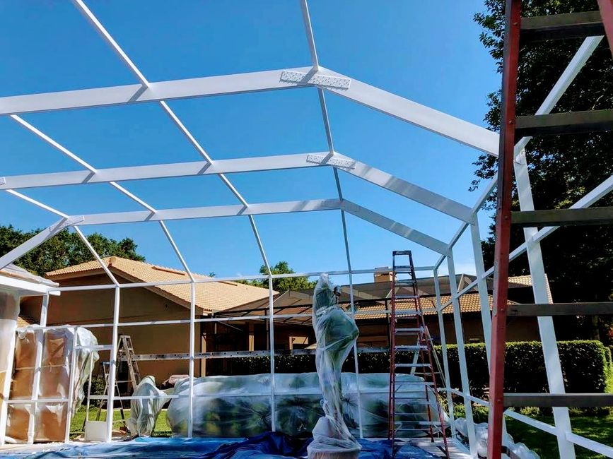 pool cage; screen; paint; re-screening; lanai restoration; enclosure painting; porch; swimming pool