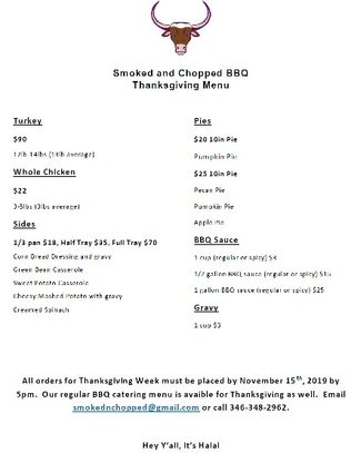Smoked n Chopped BBQ Thanksving 2019 Menu