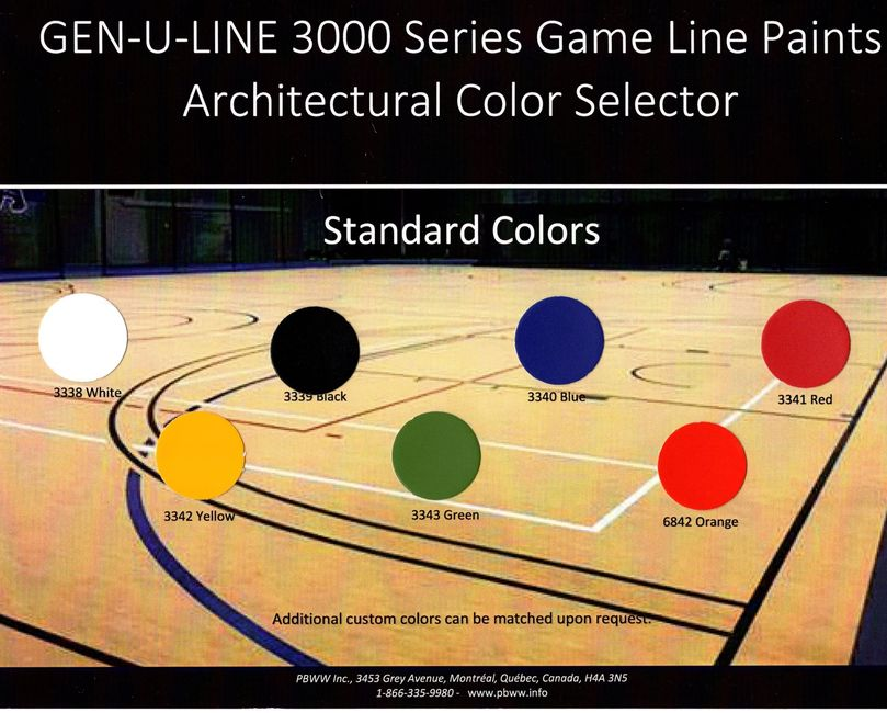 Game Line Paint Color Chart