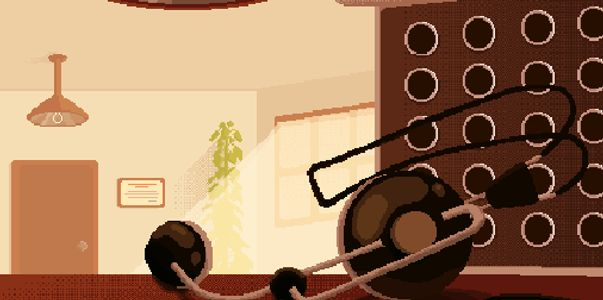 Pixel art of a headset sitting on a desk next to a switchboard.