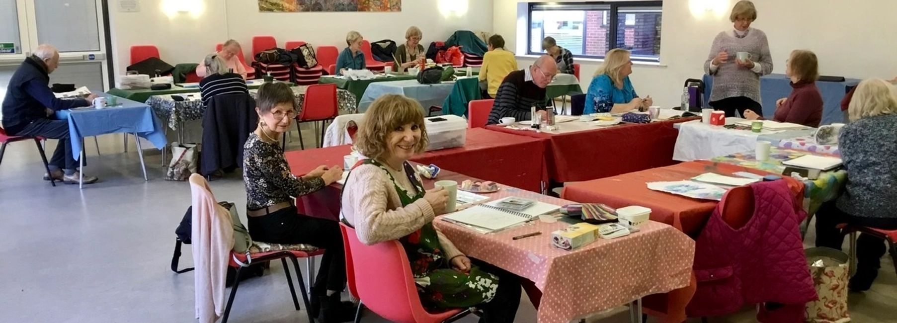 Helen's Art Class Thursday Group - New Park Centre, Chichester- Everyone hard at work