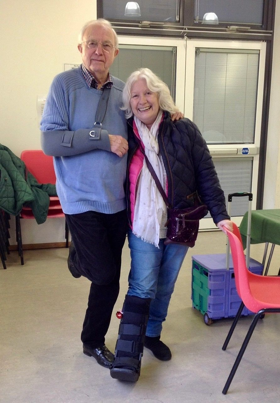 David and Julia in Helen's Art Class, Thursday Class at New Park Centre, Chichester