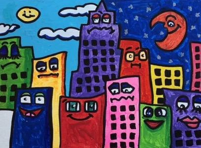 Third Grade Students paint like American Pop Artist James Rizzi.