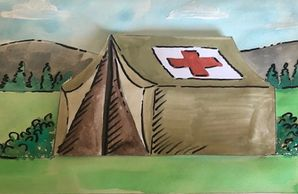 Painting of a Red Cross tent.