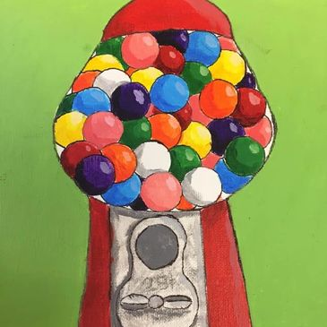 Gumball painting inspired by Pop Artist, Wayne Thiebaud.