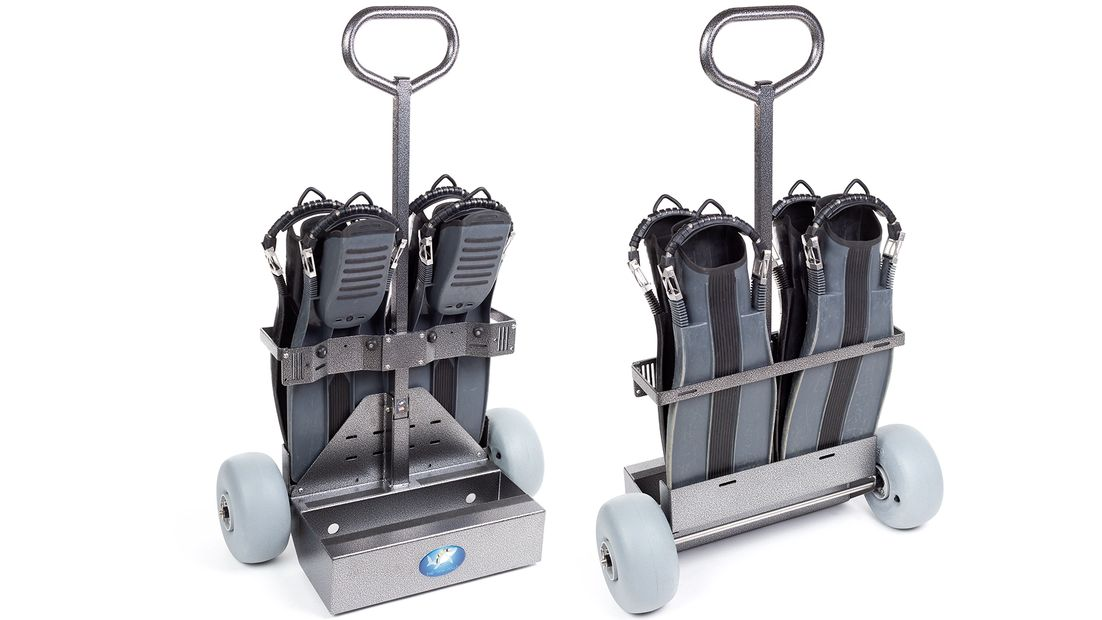 The Tank Dolly transports 2 scuba tanks, 4 fins, dive weight, and miscellaneous scuba diving gear
