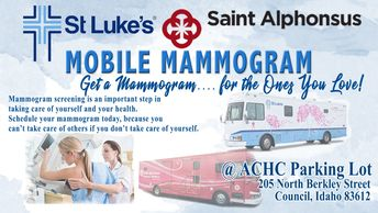 community outreach program for the St Lukes and St Alphonsus mammogram bus outreach woman getting a mammogram busses