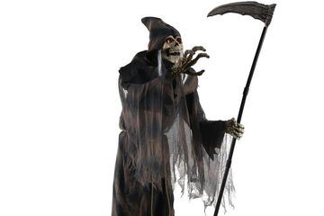 6 foot tall grim reaper animated prop with grey and black tattered robe and scythe.