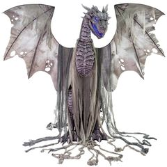 7 foot tall animated dragon prop light grey with light up blue eyes and fog machine.