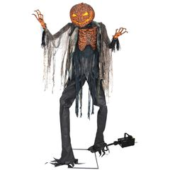 animated halloween prop 7 feet tall scarecrow with jack o lantern head.
