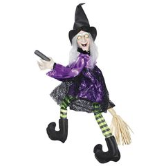 "20"" tall witch flying on a broom animated halloween decoration."