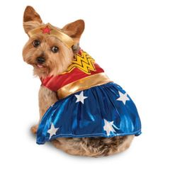 Wonder Woman costume for dogs or other pets. dress with Wonder Woman logo on back, and tiara.