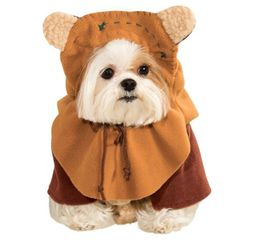 star wars ewok costume for dogs or other pets with hood and attached ears.
