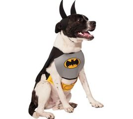 Batman Costume for dogs or other pets, black cape and headpiece with ears, belt, and bib with logo.