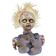 Creepy animated baby doll with dirty striped blue and white onesie pajamas.