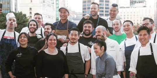 Group photo of Chefs in the Hood