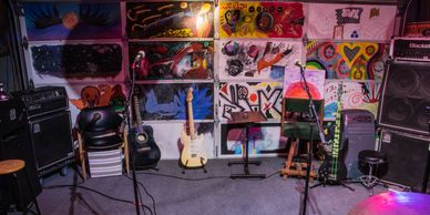 Noise Complaint Recording Studio and Rehearsal space with Fender Guitar, Ibanez Bass, & Ampeg Amp