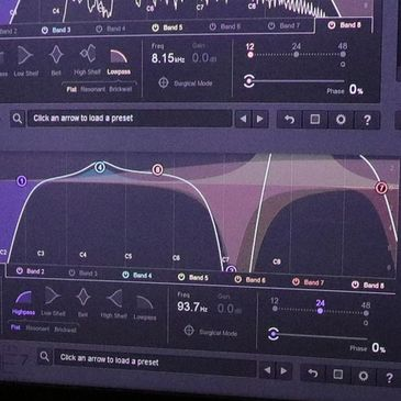 Equalizing music using Izotope Alloy and Izotope Ozone EQ AAX plugins using Avid Pro Tools on a Mac