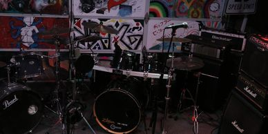 Noise Complaint Studio's Pearl Vision Drum Kit with a Pearl DR 503c Rack and Zildjian Cymbals.