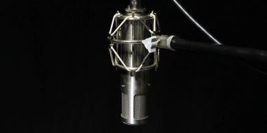 Noise Complaint Recording Studio's Sterling Audio Tube Microphone on a shock-mount ready for vocals.