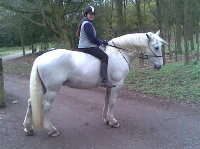Hayley & Maddie out hacking in a rope haler & Rhythm Beads, in local 700 acre Country Park.