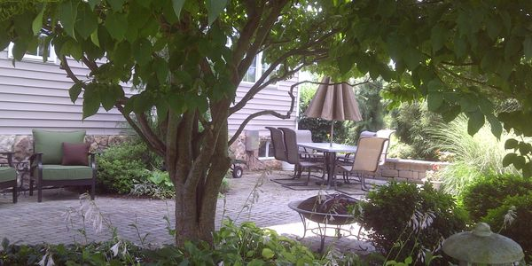 Paver patio with furniture and tree