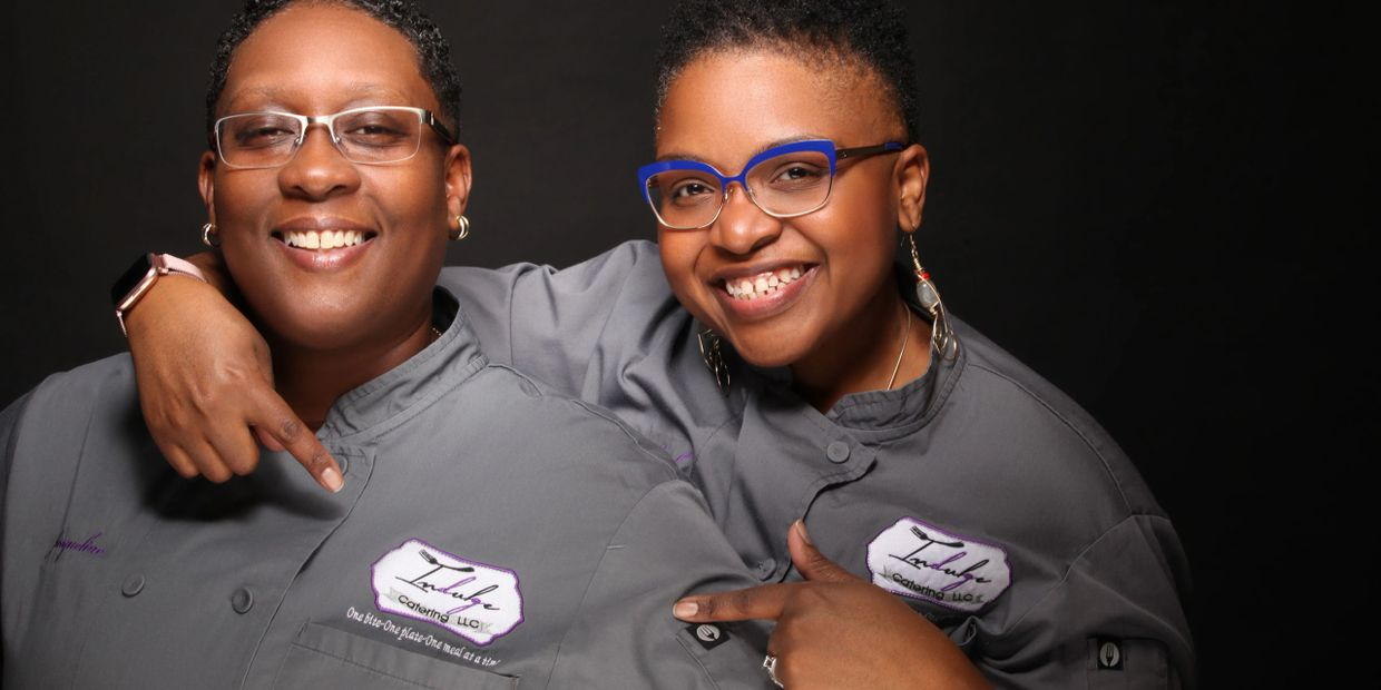 "Executive Chef Queen Precious-Jewel Earth Zabriskie, Sous Chef Jacqueline ""Jay"" White. Indulge Catering, LLC Team"