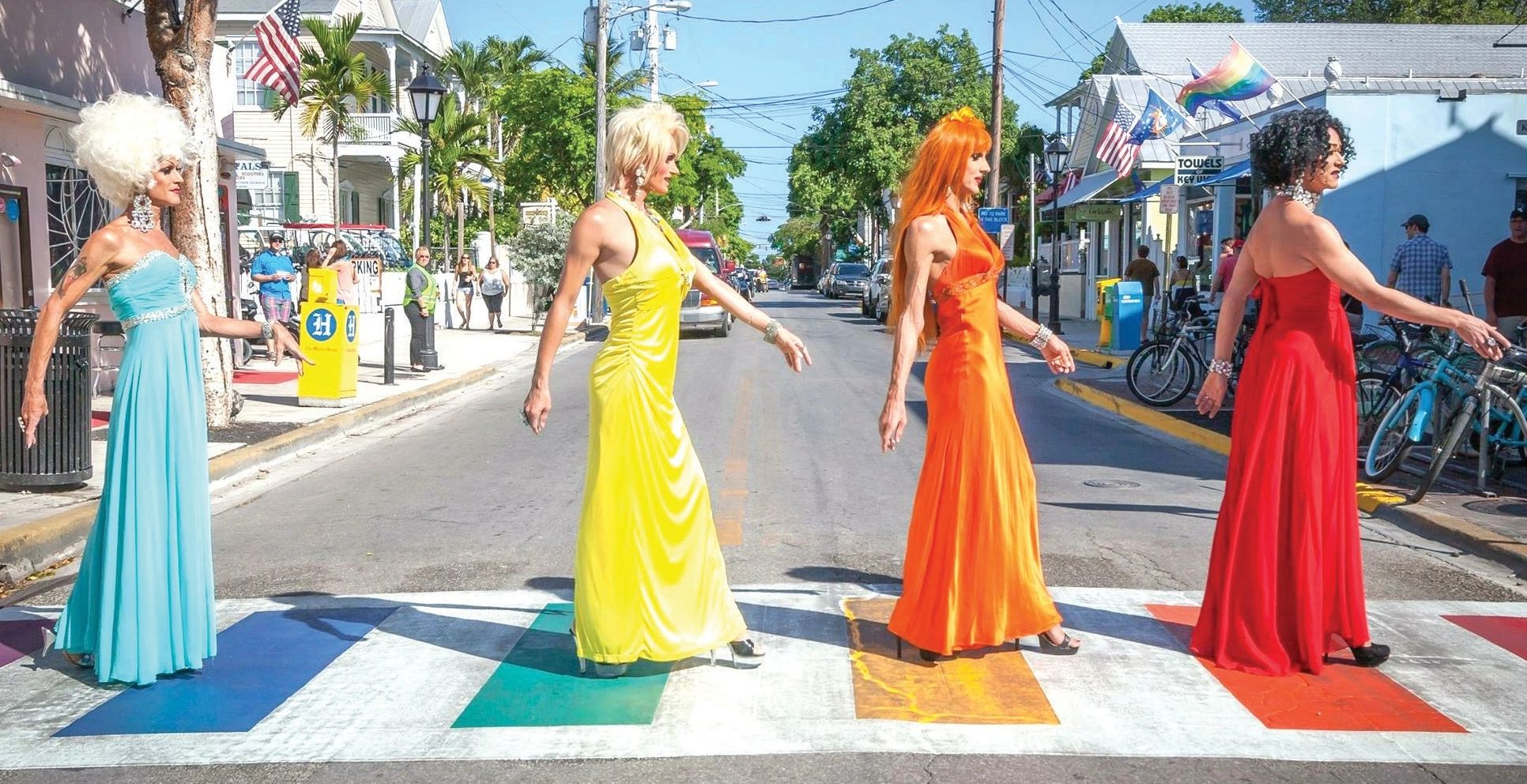 The World Famous 801 Girls, drag queens on Duval Street in Key West, Florida.