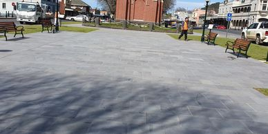 blue stone paving by Langdon Contractors for the streetscape refurbishment Camperdown Victoria