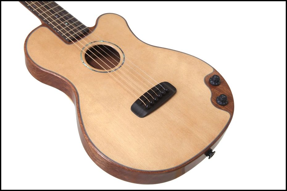Thin body acoustic electric guitar.