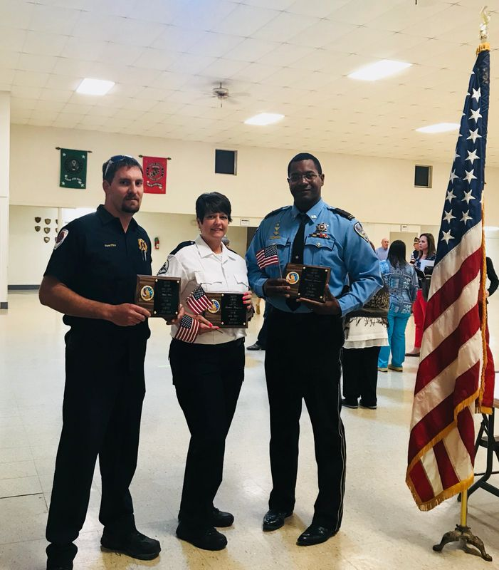 2018 Firefighter of Year- Ryan Pitre, EMT of the Year- DeeAnn Bergeron and LPSO of the Year- Emaunual Johnson