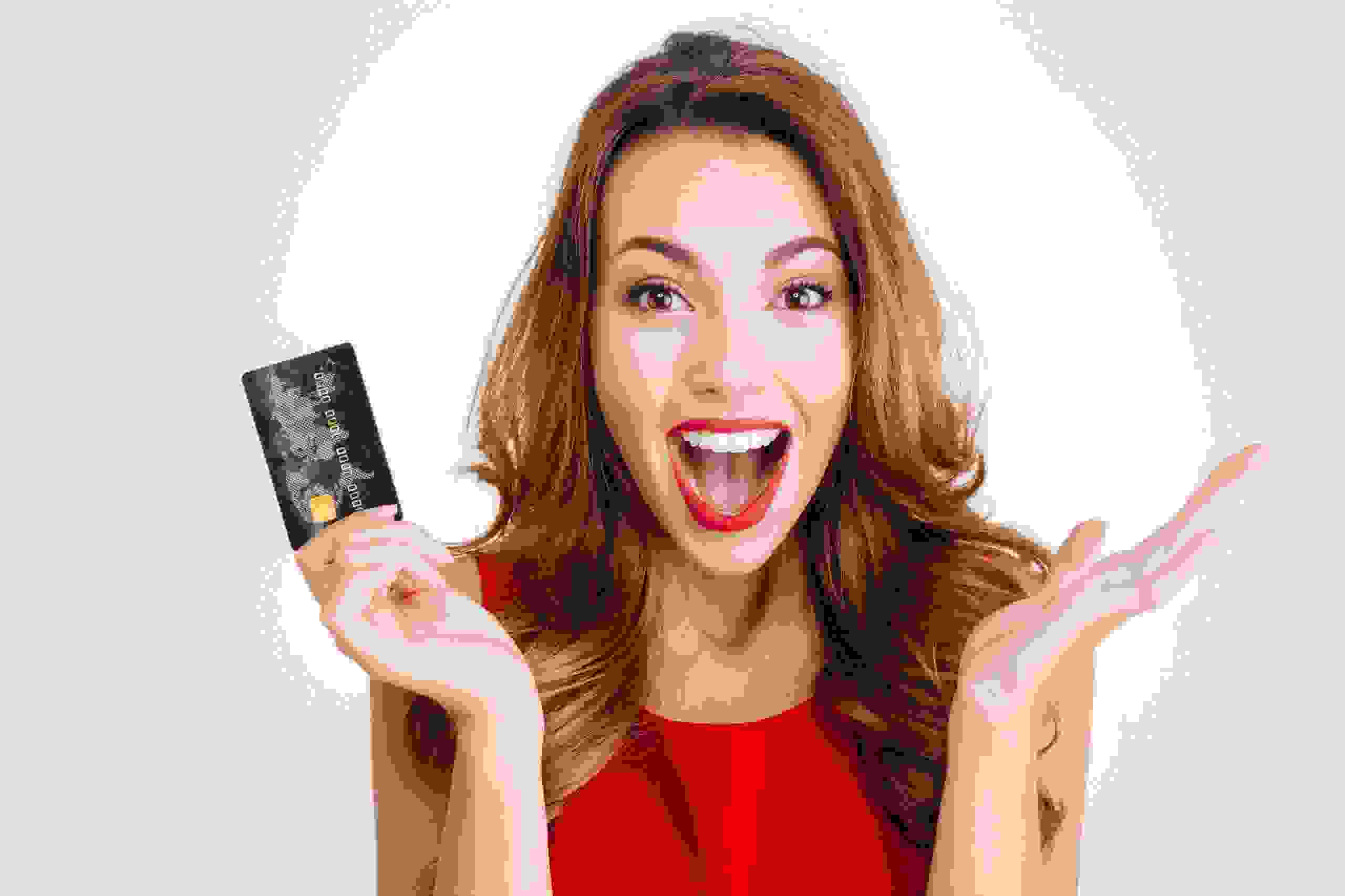 woman happy about gift card