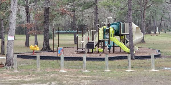 2 Regular Swings 1 Baby Swing  3 Slides Monkey Bars Fire Pole Climb Wall Tilting Tractor Spin Seat