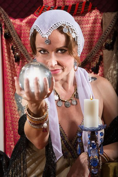 Crystal ball reader.