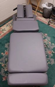 Leander chiropractic table with new cushions thanks to Woodgrove Services.