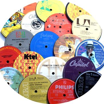 Recycled record coasters, lp coasters, drink coasters