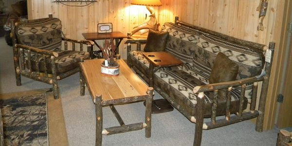 Rustic hickory log sofa couch chair log coffee table decor