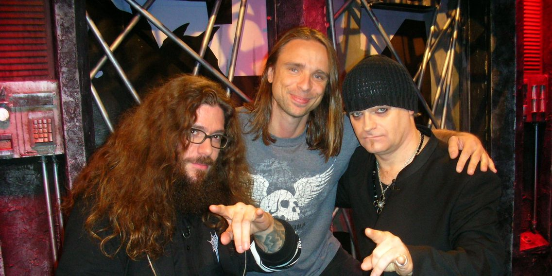 Rick in the MTV2 Studio with Martin Ain and Tom G. Warrior from Celtic Frost.