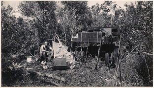 A rare photo of Bud out in the Everglades with one of his original Glades Buggy