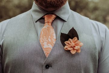 Men's boutonnière.  Wood flower.