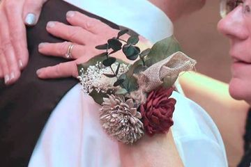 Wrist corsage.  Wood flowers.